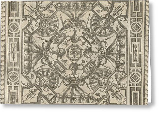 Ceiling With A Medusa Head In The Middle Greeting Card by Pieter Van Der Heyden And Jacob Floris And Hieronymus Cock