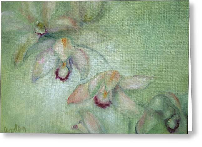 Celadon Cymbidiums Greeting Card by Susan Hanlon
