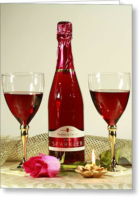 Celebrate With Sparkling Rose Wine Greeting Card by Inspired Nature Photography Fine Art Photography