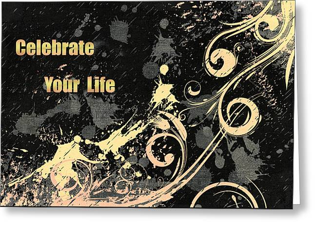 Celebrate Your Life Modern Art Light Greeting Card by Georgiana Romanovna