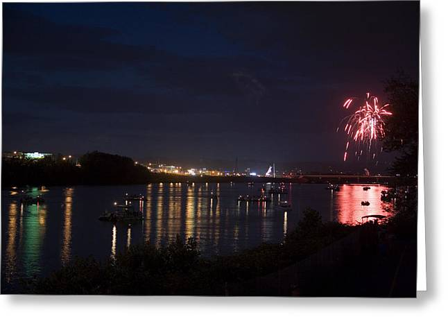Celebrating Independence Day On The Susquehanna Greeting Card by Gene Walls