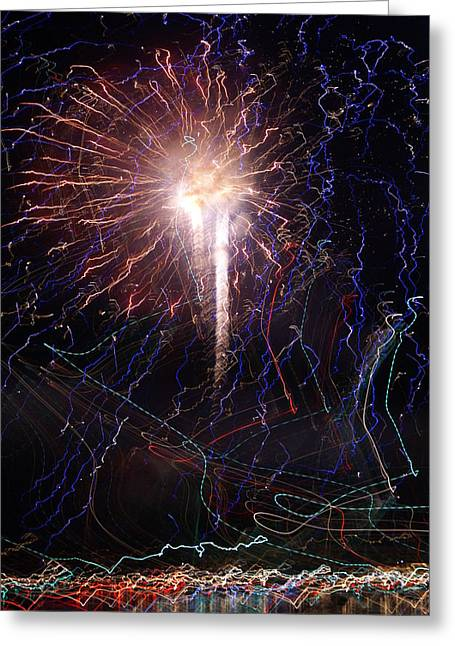 Celebration Fireworks Grand Lake Co 2007 Greeting Card by Jacqueline Russell
