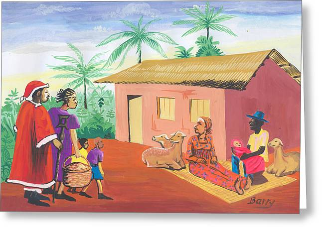 Greeting Card featuring the painting Celebration Of The Nativity In Cameroon by Emmanuel Baliyanga
