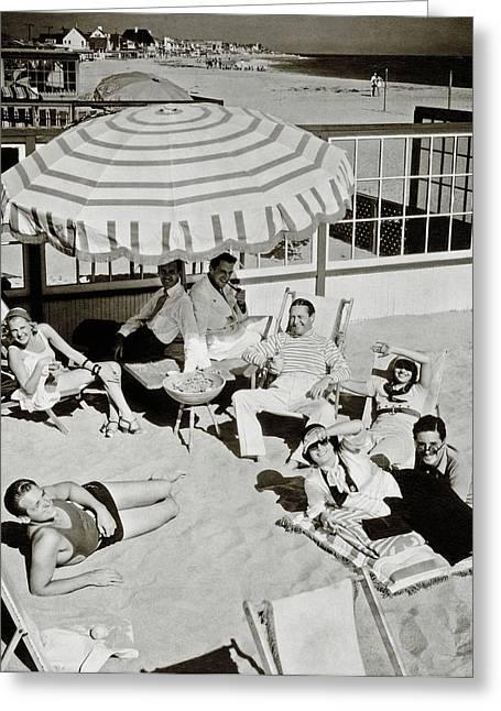 Celebrities On A Beach Greeting Card by Edward Steichen