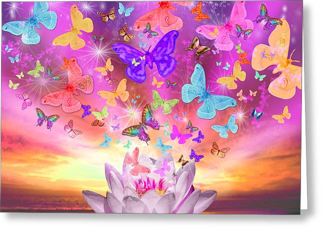 Celestial Butterfly Greeting Card by Alixandra Mullins