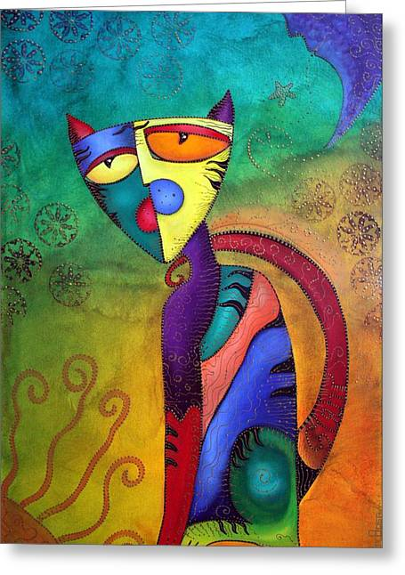 Celestial Cat Greeting Card by Laura Barbosa