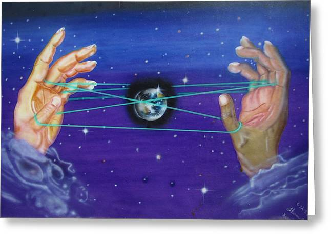 Greeting Card featuring the painting Celestial Cats Cradle by Thomas J Herring