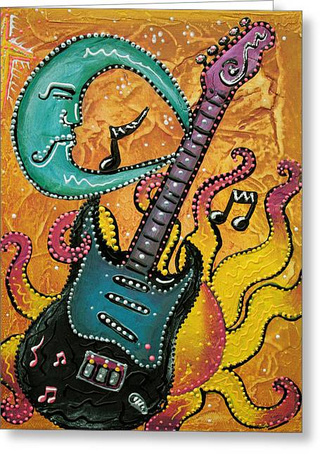 Celestial Guitar Greeting Card by Laura Barbosa