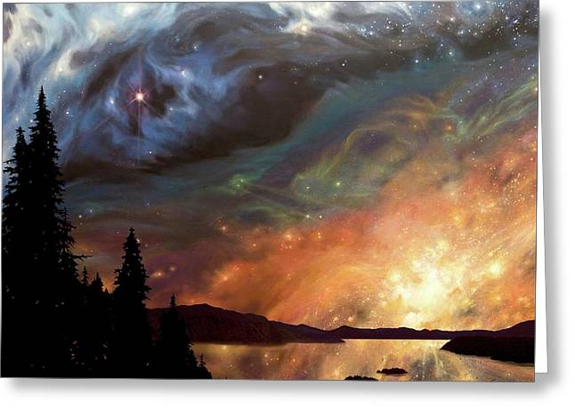 Celestial Northwest Greeting Card by Lucy West