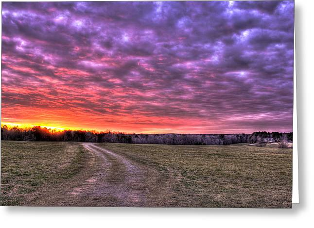 Celestial Winter Sunset And The Way Home Greeting Card by Reid Callaway