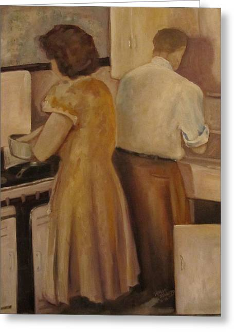 Celia And Peter Greeting Card by Maria Milazzo