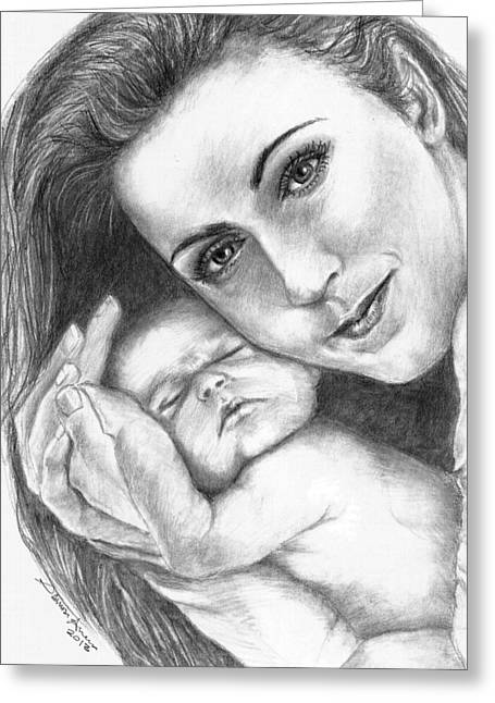 Celine Dion And Her Baby Greeting Card by Salman Ameer