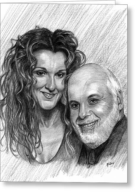 Celine Dion And Rene Angelil Greeting Card by Lou Ortiz
