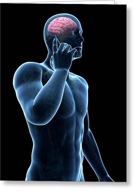 Cell Phone And Human Brain Greeting Card by Sebastian Kaulitzki