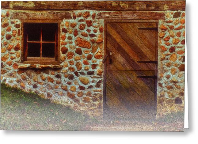 Cellar Door In The Mist Greeting Card by Jack Zulli