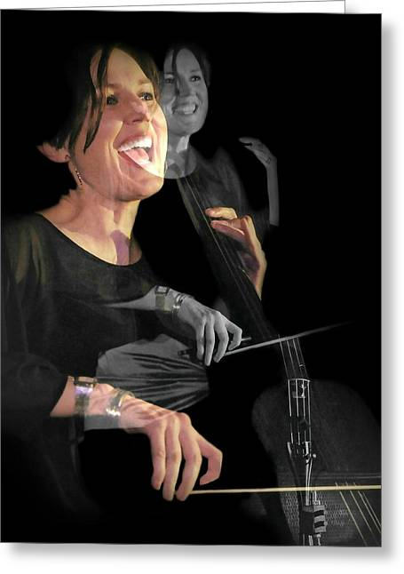 Cellist Greeting Card by Diana Angstadt