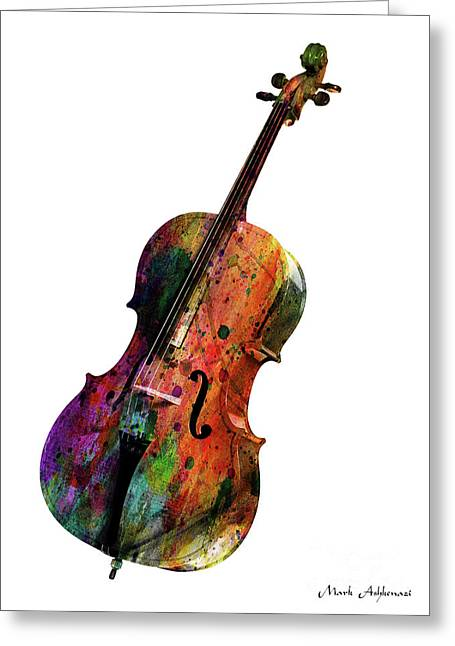Cello Greeting Card by Mark Ashkenazi