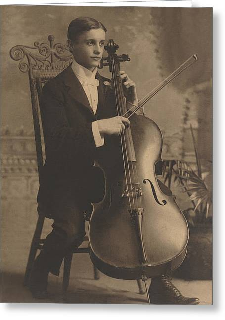 Cello Recital 1890s Greeting Card by Paul Ashby Antique Image