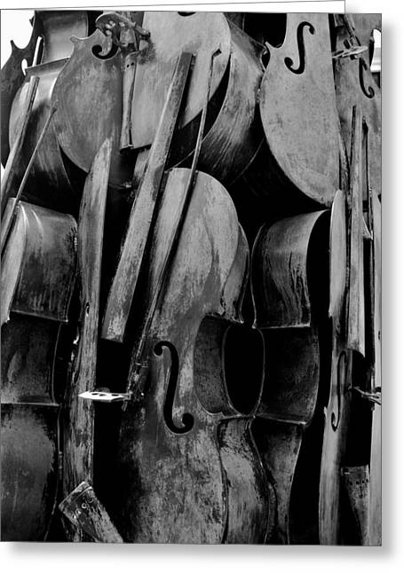 Cellos 6 Black And White Greeting Card by Rob Hans
