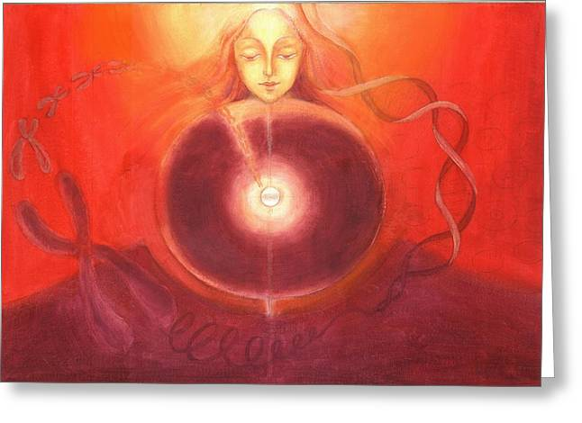 Cellular Yoga Greeting Card by Shiva  Vangara