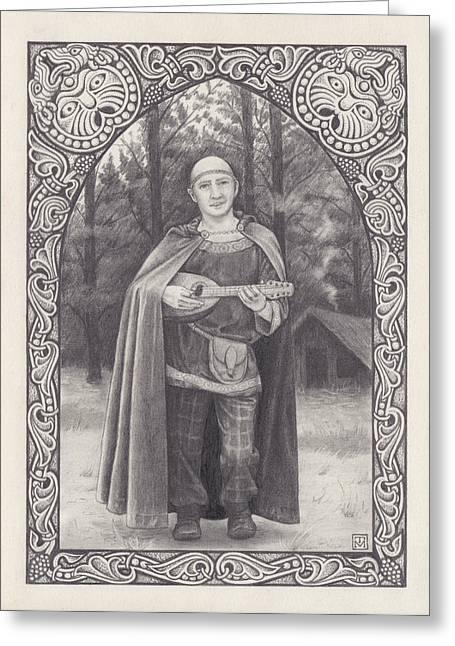 Celtic Bard Greeting Card by Tania Crossingham