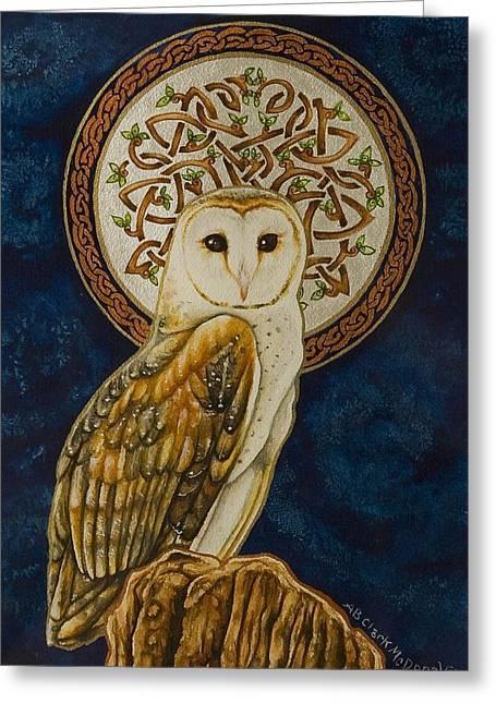 Celtic Barn Owl Greeting Card by Beth Clark-McDonal