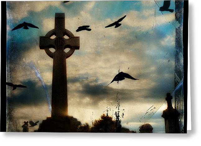 Celtic Blue Greeting Card by Gothicrow Images