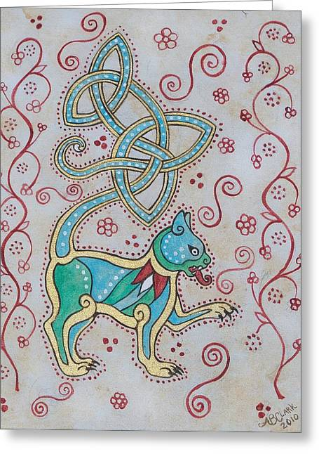 Celtic Cattus Greeting Card by Beth Clark-McDonal