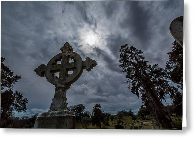 Celtic Cross And Light Greeting Card