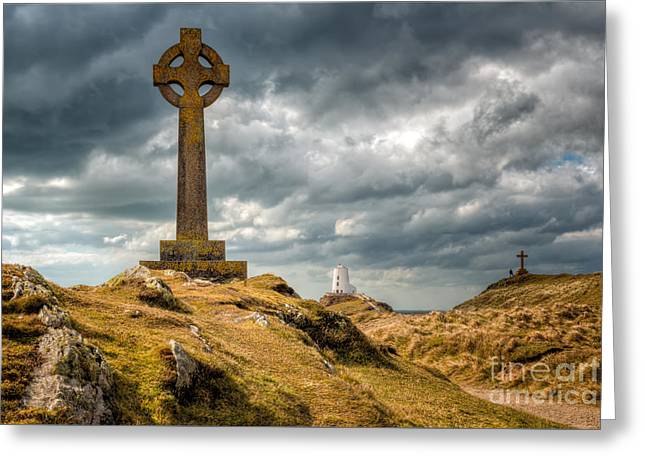 Celtic Cross At Llanddwyn Island Greeting Card by Adrian Evans