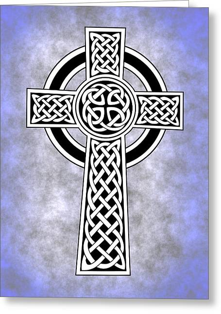 Celtic Cross Blue Greeting Card by Daniel Hagerman