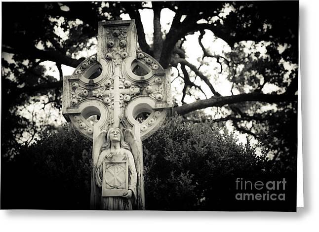 Celtic Cross Greeting Card by Sonja Quintero