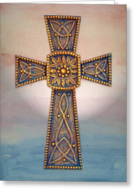 Celtic Cross Sunrise Greeting Card by Sandi OReilly