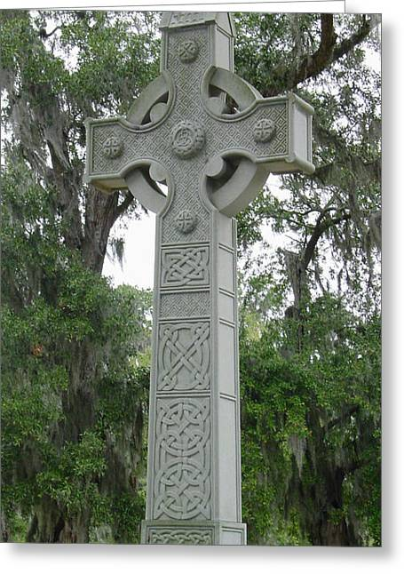 Celtic Cross Greeting Card by Suzanne Gaff