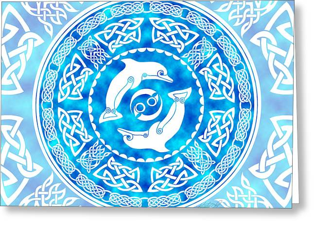 Greeting Card featuring the mixed media Celtic Dolphins by Kristen Fox