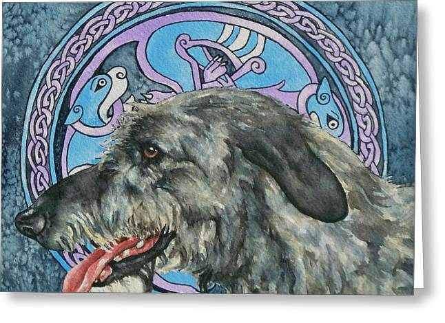 Celtic Hound Greeting Card by Beth Clark-McDonal