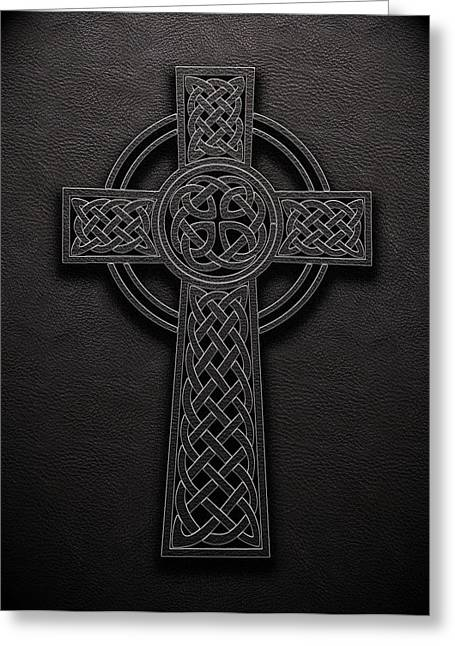 Greeting Card featuring the digital art Celtic Knotwork Cross 1 Black Leather Texture by Brian Carson
