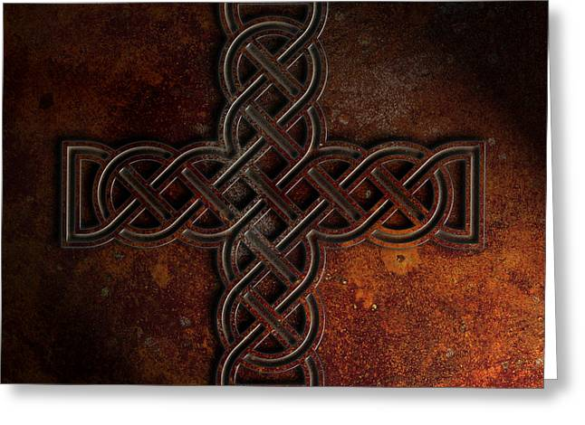Greeting Card featuring the digital art Celtic Knotwork Cross 2 Rust Texture by Brian Carson