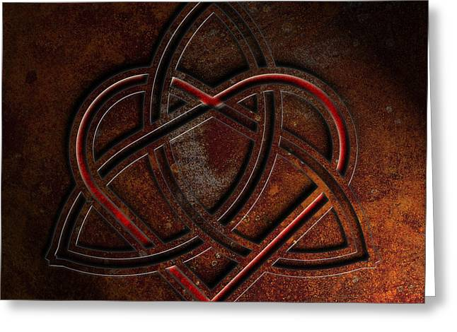 Greeting Card featuring the digital art Celtic Knotwork Valentine Heart Rust Texture 1 by Brian Carson