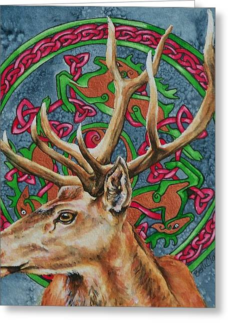 Celtic Stag Greeting Card by Beth Clark-McDonal