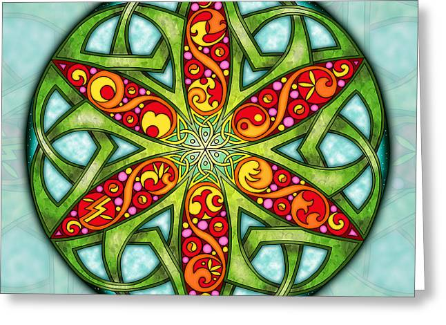 Greeting Card featuring the mixed media Celtic Summer Mandala by Kristen Fox