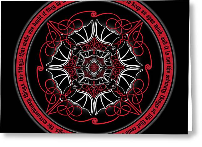 Celtic Vampire Bat Mandala Greeting Card