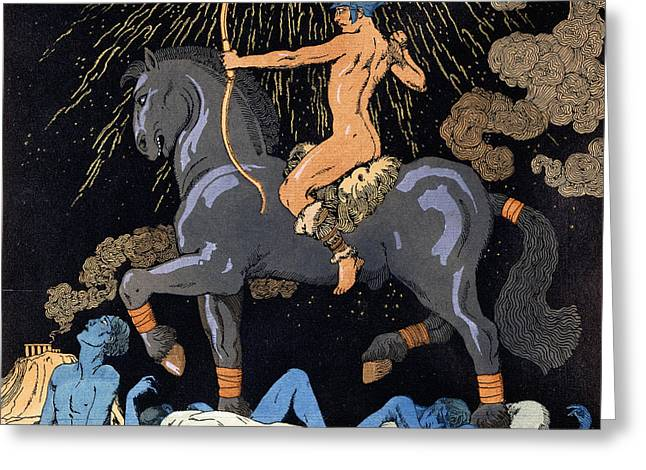 Celui Qui Monte Le Cheval Noir Greeting Card by Georges Barbier