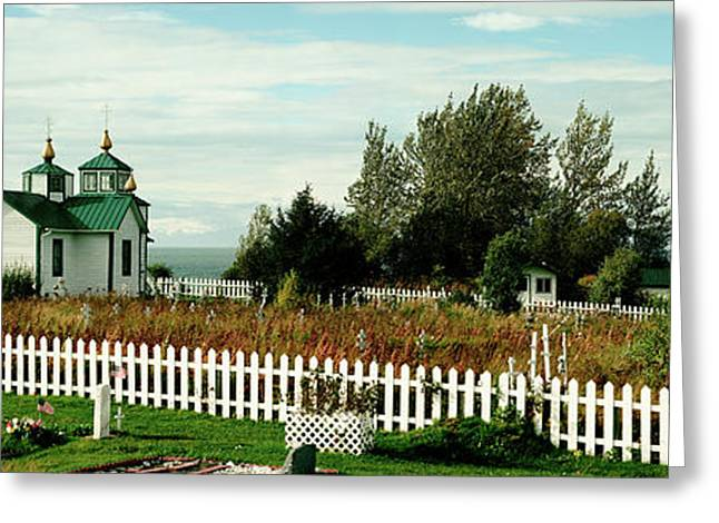 Cemetery And A Church, Russian Orthodox Greeting Card by Panoramic Images