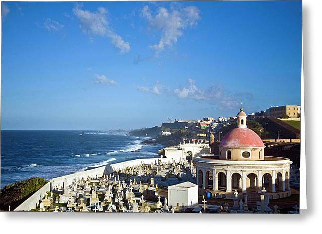 Cemetery And La Perla From El Morro Greeting Card