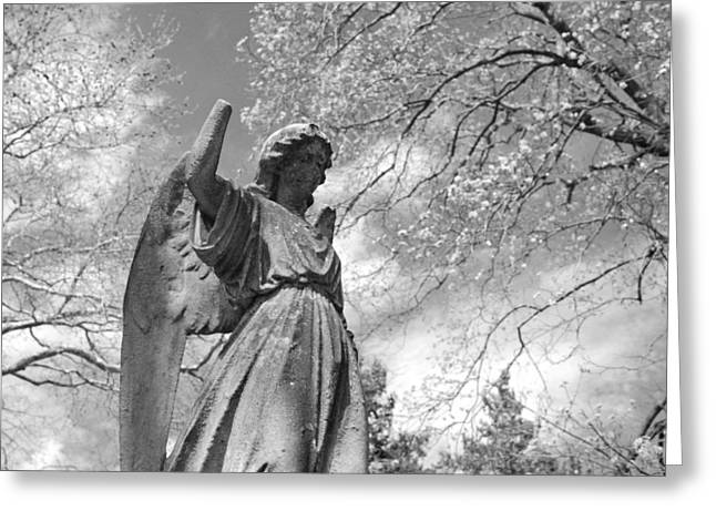 Cemetery Angel Greeting Card by Jennifer Ancker