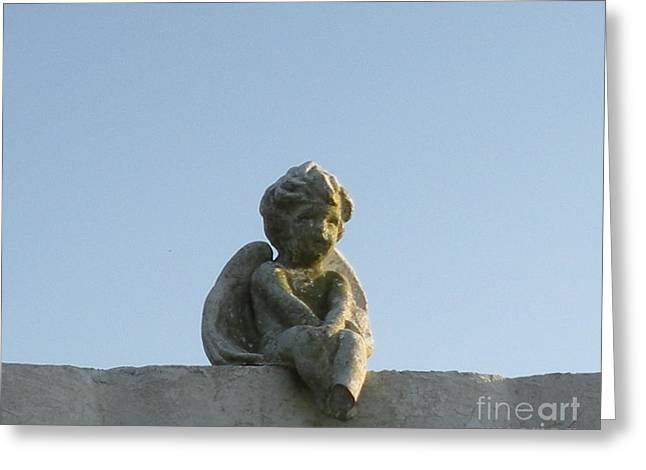 Greeting Card featuring the photograph Cemetery Cherub by Joseph Baril