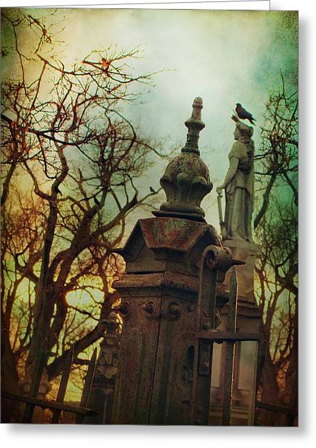 Cemetery Dusk Greeting Card by Gothicrow Images