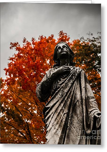 Cemetery In Fall Greeting Card by Sonja Quintero