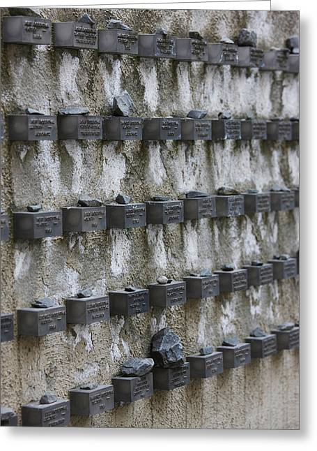 Cemetery Wall With Names Of Holocaust Greeting Card